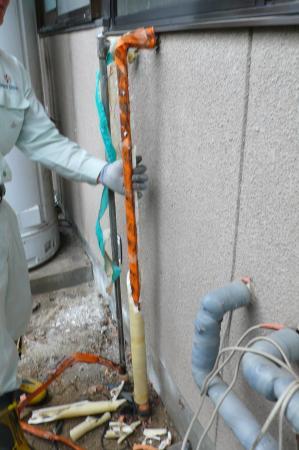 既設の配管も保温のやり替えです