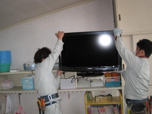 パナソニック・ハイビジョン液昌テレビを設置します
