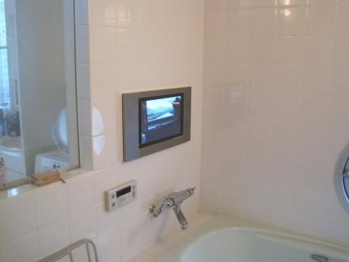 浴室テレビ設置工事の完成です