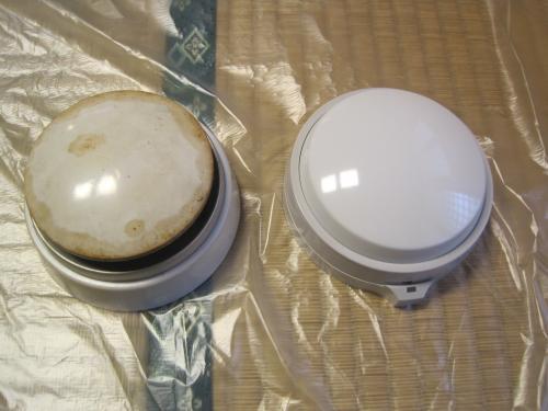 加熱試験器具で点検して 不良になった熱感知器を交換します