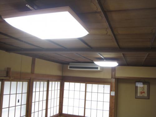 竿ぶち天井へシーリングライトの取付が完成しました