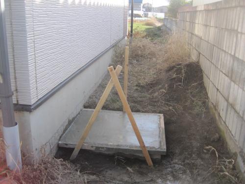 コンクリートの打ち込み完了です  乾燥するまで日にちをおいてエコキュートを据付けます