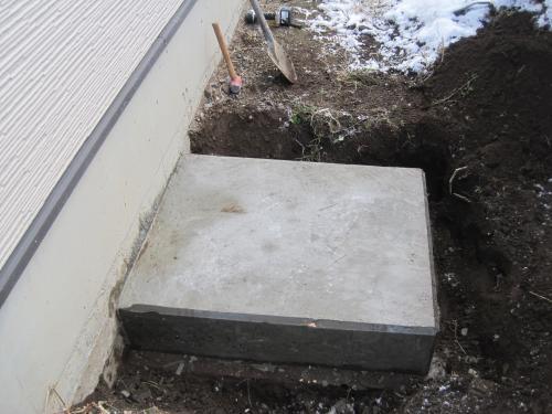 コンクリートが乾燥して頑丈な基礎が完成しました