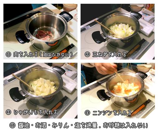 ヨシノクラフト鍋で肉じゃが調理
