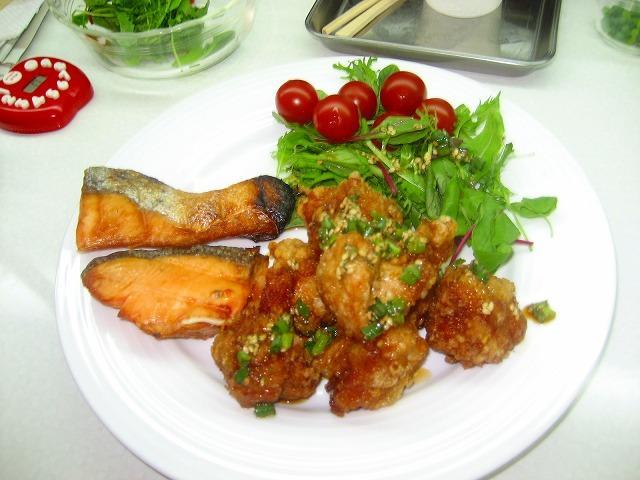 鮭と唐揚げ